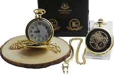 STEAMPUNK GOLD POCKET WATCH in Luxury Case Clock Cogs Wheels Industrial Design