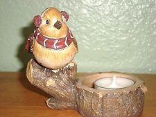 Bird Tea Candle Holder ~ Bird w/ Ear Muffs & Scarf Sitting on Tree Branch ~ New