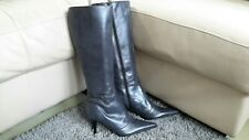 Principles Grey Leather Long Zip up slim fit Boots Size 4 EU37