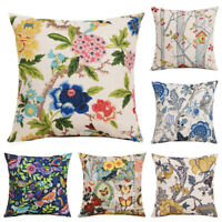"Plants Cotton Linen Pillow Case Waist Sofa Cushion Cover Home Decor 18"""