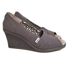 TOMS Calypso Peep Toe Canvas Wedge Heels Shoes Womens SZ 10 Gray