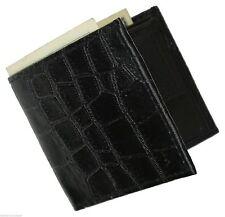 Black Genuine Leather Men's Croc Print Bifold Wallet Cowboy Flap Top
