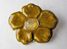 Vintage Francesca Romana 18K Gold Plate Gemstone Flower Pin Brooch