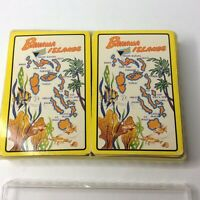 Vintage Pair Bahama Islands Mid Century Bridge Size Playing Cards Case Complete