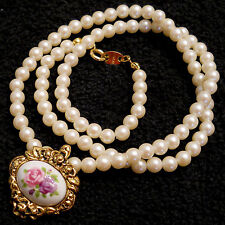 Avon Victorian Style PORCELAIN ROSE & Faux Pearl Bead NECKLACE VTG Nickel Free
