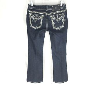 NEW Miss Me Women's Dark Wash Boot Cut Flap Pocket Jeans JE5685 EN Size 26x28