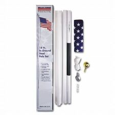 18 ft In Ground STEEL FLAGPOLE KIT 3x5 ft US Flag Print Polycotton USA Made Flag