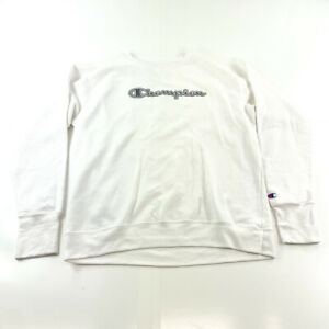 Champion Sweater Womens Large White Black Pullover Outdoors Ladies Gym Running