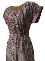 White Stuff Dress Ladies Grey and Red Berry Patterned Tea Dress with Belt 8 10