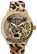 Betsey Johnson Women's Big Rawr Crystal Bling Leopard Watch BJ00475-02 NWT $185