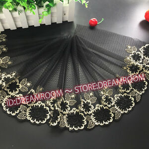 BF212 27 cm, 1yard Delicate Black embroidered flower tulle lace trim Sewing DIY