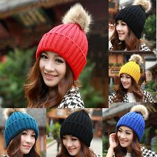 femme hiver solide boule de fourrure ski bonnet chaud crochet laine tricot