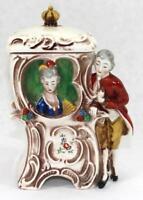 Exceedingly Rare c.1900 William Goebel Victorian Couple Tobacco Jar Humidor