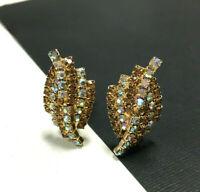 Vintage KRAMER Rhinestone Clip Earrings Topaz & AB Crystal Gold Tone MINT! SS35e