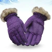 Women Kids Winter Waterproof Ski Gloves Fluffy Plush Cycling Snowboard Mittens
