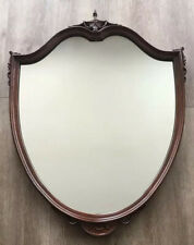 Vintage Antique Mahogany Wood Carved Turned Wall Hanging Decorative 37� Mirror