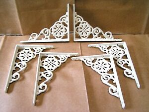 SIX Cast Iron Victorian style Wall Shelf small brackets