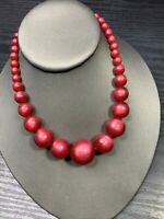 """Ladies Vintage 1950's Pale Red  Moon Glow  Beaded Necklace Hook Clasp 16"""""""