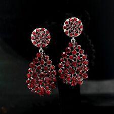 Bridal Earrings CLIP Silver Bordeaux Red Crystal Big Teardrop Wedding Class YW12