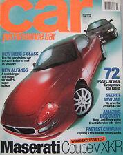 CAR 11/1998 featuring Jaguar XKR, XK120, VW Golf GTi, Maserati 3200GT, Vauxhall