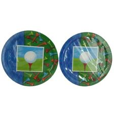 """NEW! 16 Amscan """"Tee Time"""" Golf Theme 9"""" Paper Plates ~ 2 SEALED Packages!"""