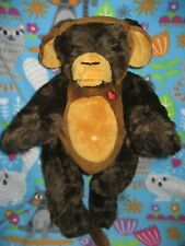 """15"""" VERMONT TEDDY BEAR Chocolate Brown w MONKEY OUTFIT Handmade in Vermont EUC"""