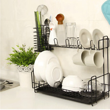 Large Steel Kitchen Dish Cup Drying Rack Drainer Tray Cutlery Holder Organiser L
