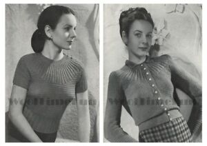 Knitting Pattern Ladys 1940s Round Yoke Jumper & Cardigan. 34-36 Inch Bust.