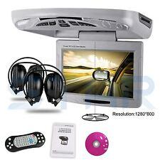 "XTRONS Car Roof Flip Down DVD Player Grey 11"" Digital Screen Monitor + Headsets"