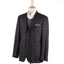 NWT $2995 ISAIA Gray-Navy-Brown Check Soft Wool Sport Coat 42 R (Eu 52)