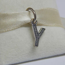 New Authentic Pandora Charm 791337CZ Letter Y Dangle With CZ Box Included