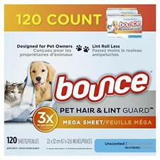 bounce Pet Hair, Lint Guard Mega Dryer Sheets 3X Pet Hair Fighters Unscented 120