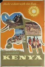 c.1959 Make a date with the Sun in Wonderful Kenya Africa Travel Poster Original