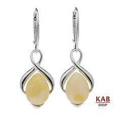 Crema Ambra baltica argento sterling 925 GIOIELLERIA orecchini. kab-148