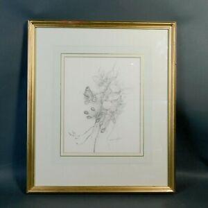 Gordon Beningfield Framed Sketch, Blackberries And Butterfly Pencil Sketch RTGBW