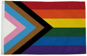 3' x 2' Progress Pride Flag Rainbow Reboot Gay Pride Rebooted LGBT Festival