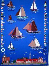 "Finished Cross Stitch Vintage Nautical Yachts Sailboats Mounted 24"" x 18"""