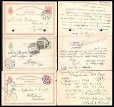DANMARK 1900'S POSTAL STATIONARY CARDS (X3) (USED)