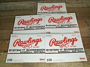 Rawlings System-17 Baseball & Softball Scorebook 17 Players-9 Innings (5 Pack)