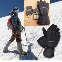 Winter Electric Heated Mens Gloves Warm Portable Battery Soft Outdoor Sports 168