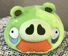 "ROVIO ANGRY BIRDS GRANDPA GREEN PIG W/MUSTACHE 5"" PLUSH W/SOUND-EUC! RARE & HTF!"
