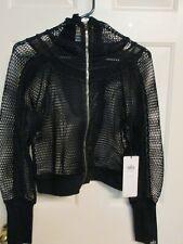Alo yoga black mesh workout jacket Size small womens workout fish net New Sample