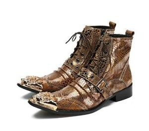 Mens Stylish Metallic Printed Leather Buckle Strap Lace Up Ankle Boots Shoes Sea