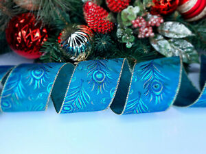 CHRISTMAS WIRED EDGE RIBBON 2.5 IN WIDE PEACOCK FEATHER WRAP GIFT WRAPPING BULK