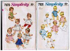 "Vintage Simplicity 7931 & 7970  12"" & 13"" Baby Doll PATTERN s 1968 / Uncut"