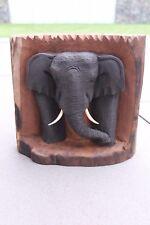 Elefant Skulptur im Baumstumpf H 23 cm Teakholz  Unikat Treibholz  Nr. E104