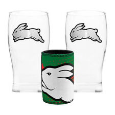 South Sydney RABBITOHS NRL 2 Pint Glasses and Can Cooler Set