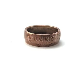 1904 British large cent coin ring size 10.75