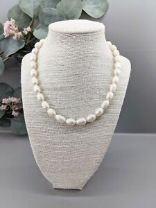 """Stunning White Freshwater Baroque Pearl Necklace 15.5"""" - Magnetic aided Clasp"""