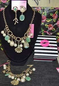 3PC BETSEY JOHNSON STUNNING SHELL CORAL STATEMENT NECKLACE EARRINGS BRACELET NEW